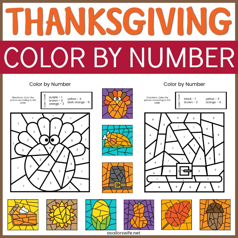 Free Thanksgiving Color By Number Pages