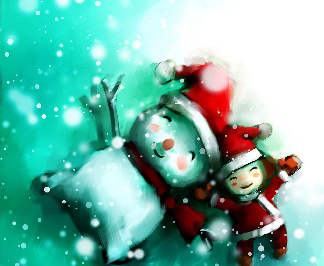 digital painting of cute girl with snowman in wintertime, oil on canvas texture